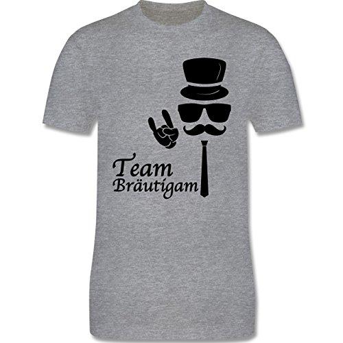 JGA Junggesellenabschied - Team Bräutigam Hipster Suit up - 3XL - Grau Meliert - L190 - Herren T-Shirt Rundhals