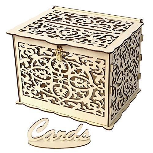 PerGrate Box für Hochzeitskarten, aus Holz, Basteln, mit Schloss und Schlitz für die Hochzeitsdekoration, rustikal, A