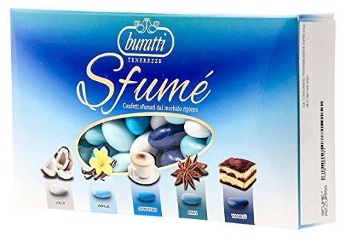 Buratti confetti con mandorle tostate ricoperte di cioccolato, bianco ai molteplici gusti, tenerezze sfumè azzurro - 1000 g