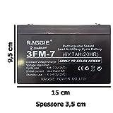 DOBO® Batteria Ermetica Ricaricabile Piombo gruppi di continuita 6V e 12V - 1.2 7 9 12 colore nero attacchi faston ricambio per gruppi di continuità UPS accumulatori (6v 7Ah)