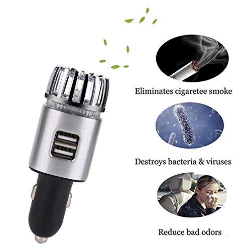 HKFV Leistungsstark beseitigen Sie Schnell Allergien-Auto-Luftreiniger mit Doppel-USB-Ladegerät Auto Luftreiniger Dual USB Ladegerät (Silber)