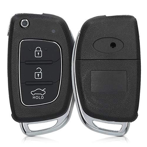 kwmobile Gehäuse für Hyundai Autoschlüssel - ohne Transponder Batterien Elektronik - Auto Schlüsselgehäuse für Hyundai 3-Tasten Autoschlüssel Klapp - Schwarz