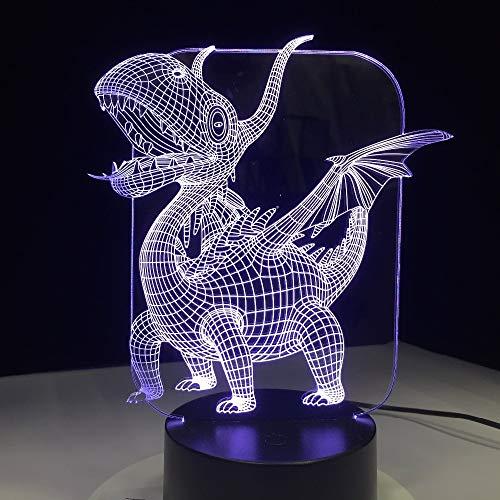 KangYD Pterosaurs Dragon 3D LED Lampe, Nachtlichter Kinder Geschenke, Weihnachtsdekor, Bluetooth Audio Base 5 Farbe, Visuelle Illusionslampe,Acrylscheibe -