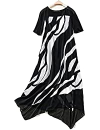 6b6fc68cb822 YYD  Femmes Casual lâche robe à manches courtes en soie asymétrique jupe  A-ligne