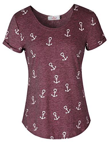 ELFIN Damen T-Shirt Top mit Anker Druck Rundhals Kurzarm Ladies Sommer Shirt Anker Sailing Tee Allover Print - Leicht und Luftig - Sehr Angenehm zu Tragen