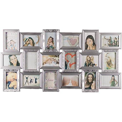 Smartfox Bilderrahmen Fotorahmen Collage für 18 Bilder im Format 10x15 cm in Silber, 103x52cm, quadratisch