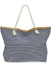 CASPAR TS1024 Sac de plage XXL à rayures pour femme - Sac shopping classique avec imprimé marin