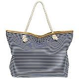 CASPAR TS1024 große XXL Damen Marine Strandtasche / Shopper mit klassisch maritimen Streifen Block Muster , Farbe:dunkelblau;Größe:One Size