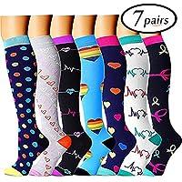 Sabarry Lot de 7 paires de chaussettes de compression pour homme et femme