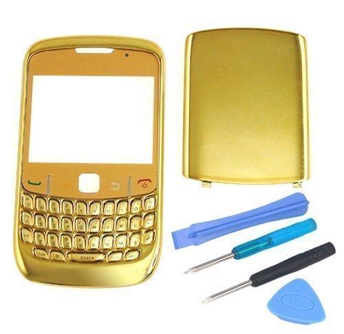 Accessotech Gehäuse für BlackBerry Curve 8520 (Chrom), Goldfarben (Blackberry 8520 Gehäuse)
