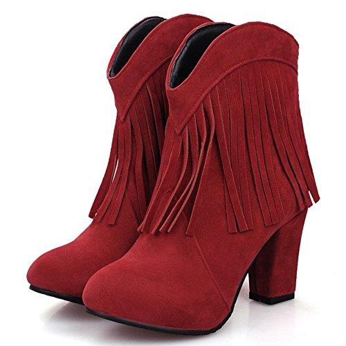 TAOFFEN Damen Retro Frühling Herbst Blockabsatz Knoechel Stiefel Rot