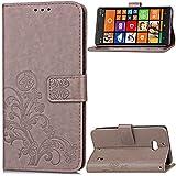 Nokia Lumia 930 Funda,[FQY-TEC][Gris]S[Cuero Pu] y [TPU]Cartera,Ranura para tarjetas,Soporte Funda...