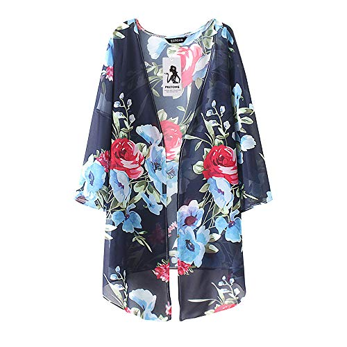 JMETRIC_Strandbluse 8626 Damen Chiffon Cardigan Kimono Casual Summer Tops Shawl Beachwear Cover Up Blouse Strickjacke (Marine,S)