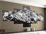 Leinwandbild 5 tlg. 200cmx100cm Mount Everest Himalaya Gebirge schwarz weiß Bilder Druck auf Leinwand Bild Kunstdruck mehrteilig Holz 9YA2057, 5Tlg 200x100cm:5Tlg 200x100cm