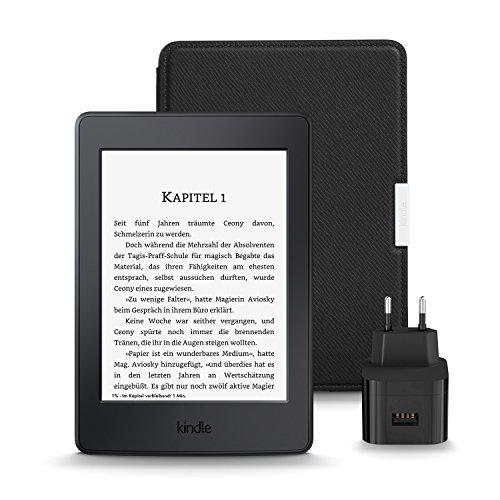 Kindle Paperwhite Essentials Bundle mit Kindle Paperwhite eReader WLAN (Schwarz) - mit Spezialangeboten, Amazon Lederhülle (Onyx-Schwarz) und Amazon Powerfast 9W Ladegerät