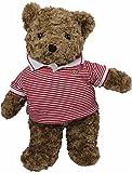 TEDDY HOUSE Osito de Peluche y tierno Toby Bear en marrón con Polo Rojo Blanco 45 cm 18 '