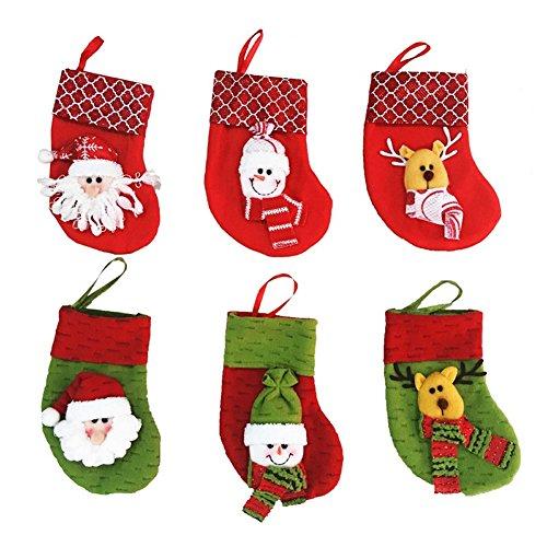 Veewon Christmas Stocking Xmas Snowman Santa Claus Socks Bag Present Gift Bag, set of 6 Random Color
