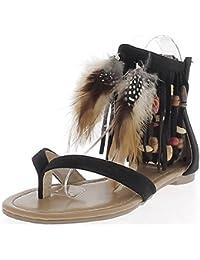 Sandales plates noires look daim avec franges perles et plumes