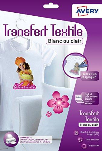 Avery 8 Papiers Transferts T shirt/Textile Blancs ou Clairs - A4 - Jet d'encre (C9405)