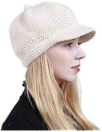 22f9aa777542 heekpek Femmes Casquettes Souples Chapeau Tricoté pour Femmes Casquettes  Plates Femmes Bonnet De Chasse Femme Casquette