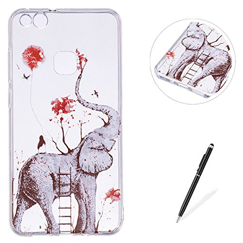 MAGQI For HUAWEI P10 Lite TPU Stoßstange Telefon Fall,[Neu Einhorn Flamingo Serie Kreativ Design] mit Transparent Weich Gel Schutz Schale Haut Abdeckung -Elefant (Terrarien, Glas-schale)