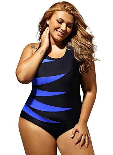 Aleumdr Damen Bademode Einteiler Wassersport Figuroptimizer Sport Gestreift Schalen Slim Badeanzug Monokini Schwimmanzug Blau XX-Large