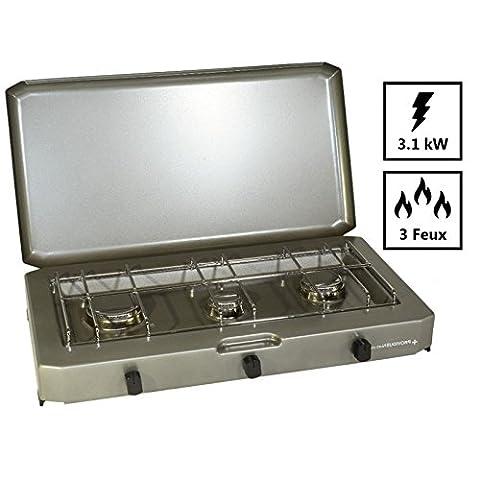 Plaque de cuisson FT 300. Rechaud camping gaz 3 feux pour bouteille de gaz 13 kg
