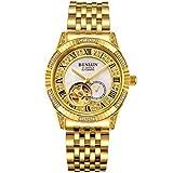 binlun Gents Bling Gelb Gold-Plating Japan automatische Mechaniker Armbanduhr, Durchmesser 39 cm