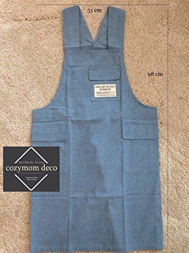 cozymom Chef Schürze Geschenk japanischen Stil, X Form Denim Smock Natürliche Baumwolle apron-blue Farbe - Denim Smock