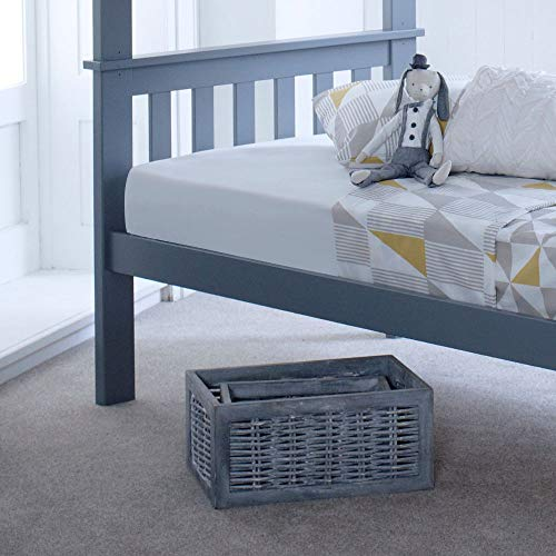 Happy Beds Atlantis Grey Solid Pine Wooden Kids Bunk Bed Frame Only 3' Single 90 x 190 cm
