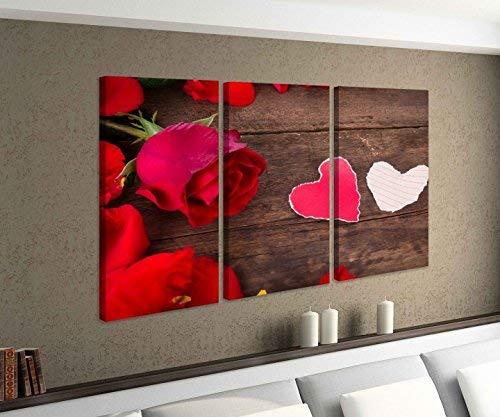 Leinwandbild 3 tlg Liebe Herz Herzen rot weiß Blumen Rose Vintage Bild Bilder Leinwand Leinwandbilder Holz Wandbild mehrteilig 9W208, 3 tlg BxH:90x60cm (3Stk 30x 60cm)