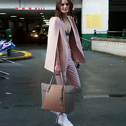 LeahWard® Grete Taille Sacs Épaule Pour Femme Mode Celeb Style Femme Sac achats , Cabas Styliste Tote Sac À Main A4 350 CWM0030-Gray/Nude