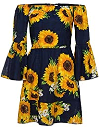 Vestiti Lungo Donna Elegante LandFox Sexy Vestito Casual da Donna Bohémien  con Stampa Girasole sul Mini Abito a Spalla Cotone Italiani XL… 95c4f484fa9