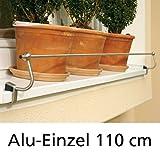 Blumenkasten-Halterung 110 cm, Edelstahl f. Alu-Fensterbänke, Montage ohne Bohren
