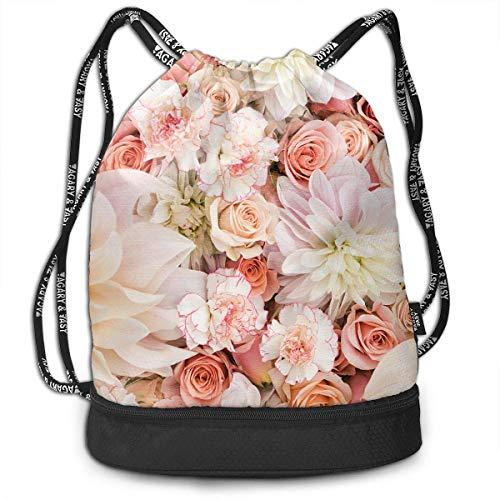 DHNKW Lightweight Waterproof Large Storage Drawstring Bag for Men & Women - Petal Roses Blush Pink Cinch Backpack Sackpack Tote Sack -