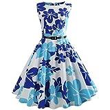 VEMOW Heißer Elegante Damen Mädchen Frauen Vintage Bodycon Sleeveless Beiläufige Abendgesellschaft Tanz Prom Swing Plissee Retro Kleider(Blau 1, EU-36/CN-M)