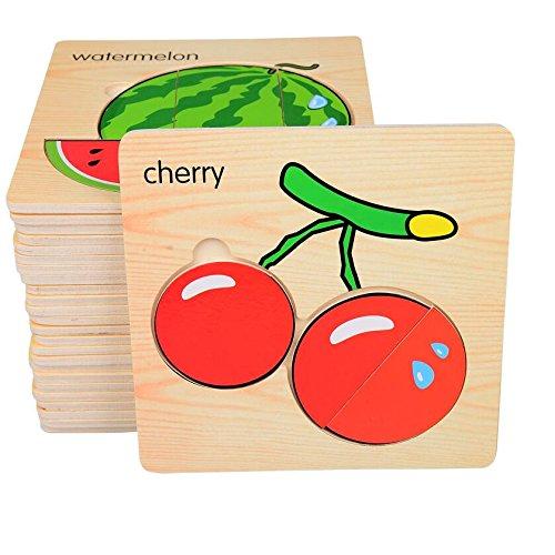 Preisvergleich Produktbild Mamimami Home Baby 3D Cartoon Puzzle Puzzle Holzspielzeug Karikatur Frucht Puzzles Kindererziehung Spielzeug für Kinder Montessori Spielzeug Puzzle
