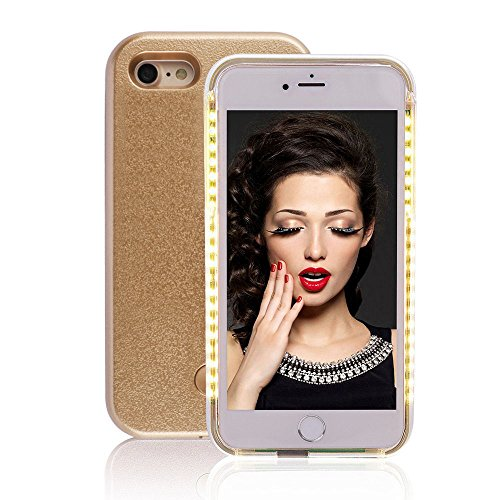 GSY Coque lumineuse pour selfie avec éclairage LED rechargeable, flash, interrupteur à intensité variable pour Apple iPhone, plastique, doré, iphone 5/5S/5SE