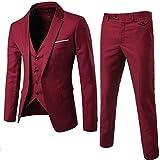 Sunshey Herren Anzug 3-Teilig Slim Fit Anzugsjacke Anzugsweste Anzugshose ein knopf Muster, Weinrot, DE M/Etikett 2XL