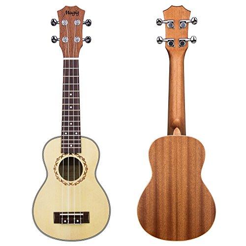 Mugig Ukelele Instrumento de Concierto 21 Pulgadas 4 Cuerdas de Nivel de Entrada(Tapa de Pícea y Fondo y Aros de Caoba)