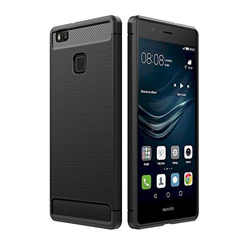 Simpeak Ersatz Huawei P9 Lite Hülle Schwarz, Premium Weiche Karbonfaser Elastisch Schützendes Rückseiten-Case Ersatz Huawei P9 Lite [Fallschutz] [rutschfest] [Kratzfest]
