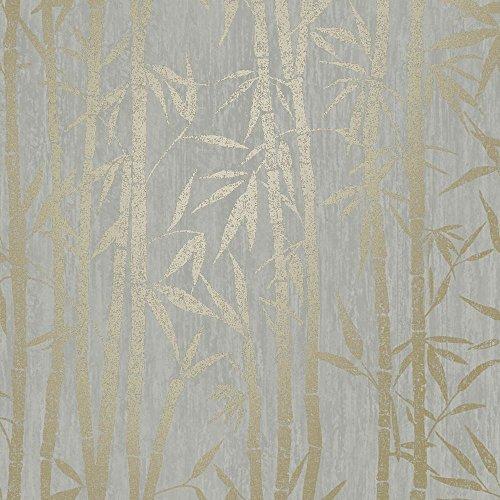HOLDEN Nandina Blatt Muster Tapete Metallisches Motiv metallische Folie - 90282 grau gold