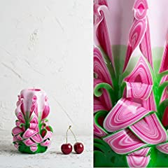 Idea Regalo - Candela - Scultura Intagliata a Mano - Rosa E Verde - Colori Vivaci Estivi Freschi - EveCandles