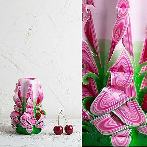 Kerze für Haus und Gartendekoration - frische und lebendige Sommerfarben - Rosa mit Grün - EveCandles