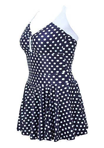 ALICECOCO Damen Plus Size One Piece Swimdress Skirted Badeanzug Badeanzüge (EU 34-36 ( L ), Blue-white) (Swimdress Badeanzug)