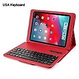 Wirless Tastatur Hülle Keyboard Case für iPad Pro 11 Inch 2018 , Ultradünn Smart Shell mit magnetisch tandfunktion Hülle mit Abnehmbar Kabellose Tastatur Case Leder Hülle , Auto Sleep/Wake,rot