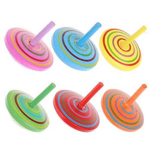 Imagen para Annhao Peonza de Madera de Colores 24 Piezas, Peonza trompo, Juguetes para niños, Juego de peonzas, Creativo Juguete, Regalos para Comuniones, Niños, Niñas, Fiesta cumpleaños favores (6 Colores)