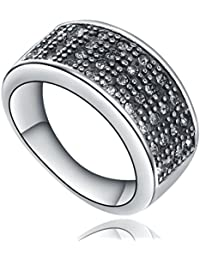 Stainless Steel Four Rows Cubic Zirconia CZ Ring