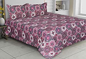 haus & kinder Rich Pink Textured Art 186 Thread Count 100% Cotton Double Bedsheet with 2 Pillow Covers, King Size