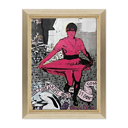 Bild auf Leinwand Canvas-Gerahmt-fertig zum Aufhängen-Banksy-Kunst Street Art Dimensione: 50x70cm E - Colore Legno Naturale Design